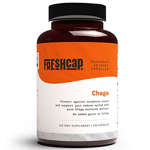 FreshCap Organic Chaga Extract - 120 Capsules (60 Day Supply) - Dual Extracted - Verified Levels of Beta-Glucan and Triterpene - Vegan, Non-GMO - Chaga Mushrooms Supplement for Immune Support