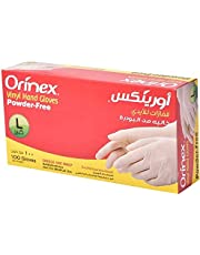 Orinex Vinyl Hand Gloves Powder Free, Large, 100 Pieces