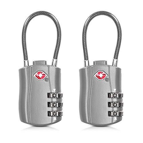 kwmobile Juego de 2X candado con Certificado TSA - Candados de Seguridad con código numérico - Cerradura para Maletas Equipaje Mochila Bolso - Plata