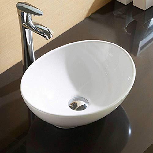Eletorot 洗面ボウル ボール形洗面器 浴室洗面台用 手洗いボウル 陶器製 41cm 排水金具付き