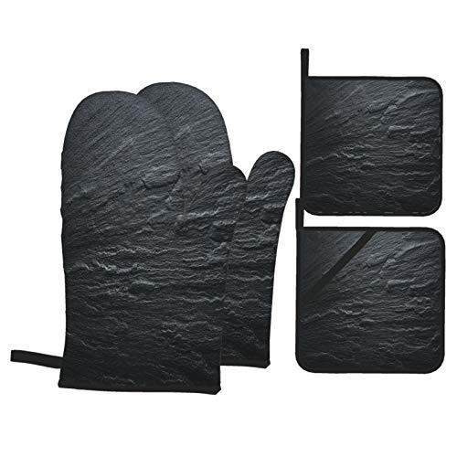 Juego de 4 Guantes y Porta ollas para Horno Resistentes al Calor Piso de Textura de Pizarra Negra Gris Oscuro para Hornear en la Cocina,microondas,Barbacoa