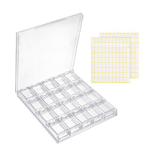 PandaHall Caja organizadora de almacenamiento extraíble de plástico transparente con 198 piezas de etiquetas rectangulares de papel para cuentas de diamante, anillos, accesorios de joyería pequeños