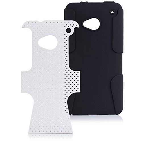 iCues HTC One M7 |  2 Part Air Case Weiss | [Display Schutzfolie Inklusive] Outdoor Dickes Hardcase Stoßfest Militär Lifeproof Männer Jungs Schutzhülle Hülle Cover Schutz