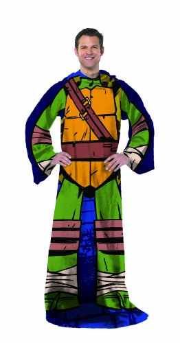Nickelodeon's Teenage Mutant Ninja Turtles, 'Being Leo' Adult Comfy Throw Blanket with Sleeves, 48' x 71', Multi Color