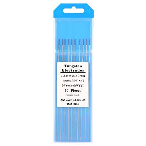 Equipo de soldadura TIG de 10 piezas, electrodo de tungsteno, electrodo de tungsteno de itrio WY20 2,0% punta azul para soldadura TIG (1,6 mm * 150 mm)