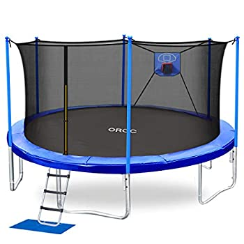 ORCC Trampoline 15 14 12 10FT Basketball Trampoline with Safety Enclosure Net Ladder Rain Cover Basketball Hoop and Ball for Backyard Outdoor Trampoline for Kids Adults  15ft