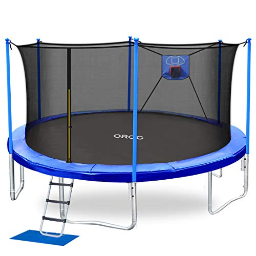 ORCC Trampoline 15 14 12 10FT Basketball Trampoline with Safety Enclosure Net, Ladder, Rain Cover, Basketball Hoop and Ball for Backyard, Outdoor Trampoline for Kids Adults (12ft)