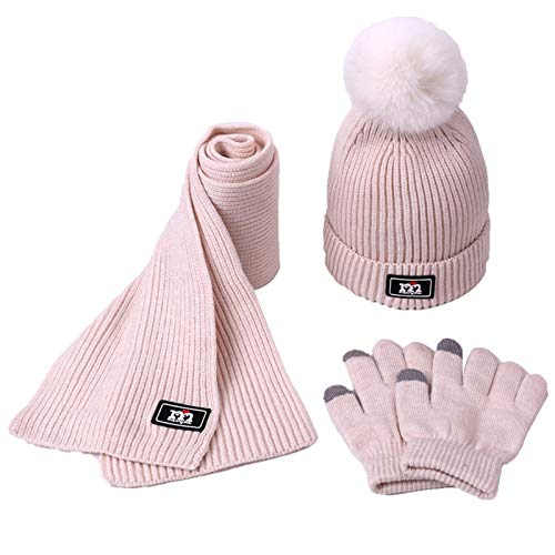 Three-piece Scarf Hat Set Baby Girls Children PomPon Beanies Knitted Skullies Hats Kids Winter Warm Wool Crochet Caps Unisex for Running Fishing Cycling (Color : A)