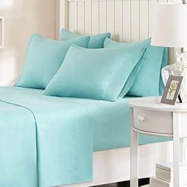 Comfort Spaces - Hypoallergenic Microfiber Sheet Set - 6 Piece - Queen Size - Wrinkle, Fade, Stain Resistant - Aqua Blue - Includes flat sheet, fitted sheet and 4 pillow cases