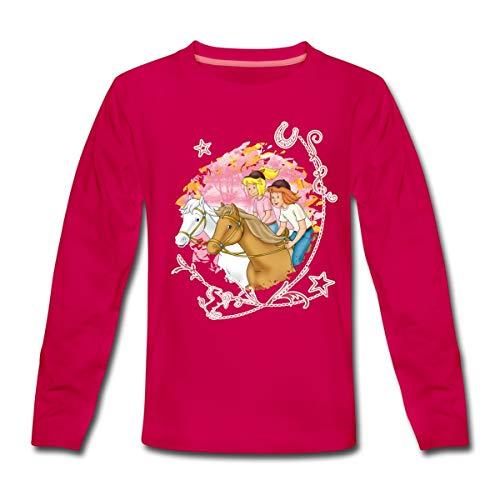 Bibi Und Tina Wettreiten Im Wald Kinder Premium Langarmshirt, 122-128, Dunkles Pink