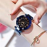 Nologo 闪电 Damenuhr magnetischen Starry Quarzuhr Damen Mode Uhr Damen Frauen Uhr (Farbe : Azul)