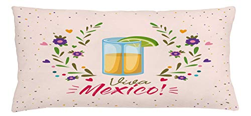 ABAKUHAUS Tequila Sierkussensloop, Bloemen Viva Mexico, Decoratieve Vierkante Hoes voor Accent Kussen, 90 cm x 40 cm, Veelkleurig