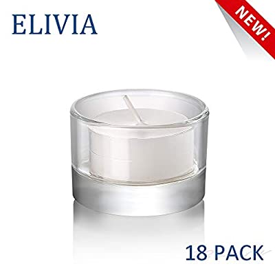 """Elivia Clear Tealight Candle Holders - Set of 18, Round Glass Candle Holder, 2"""" Diameter"""