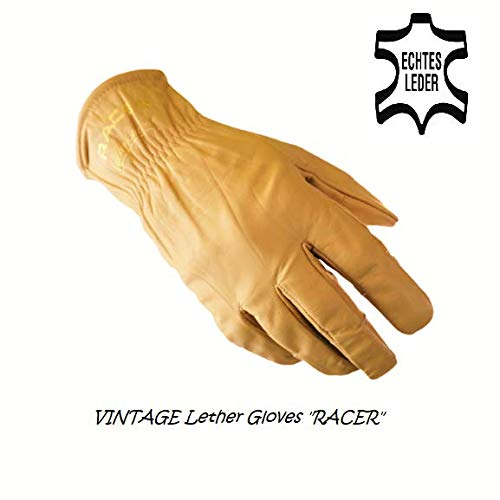 CBP Vintage Leder Sommer Motorrad Handschuh 'Racer' Farbe Sand ohne Futter, GR. S (8)