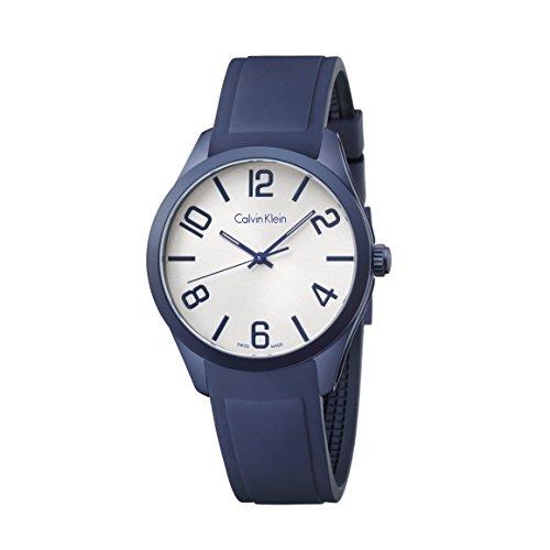 Calvin Klein K5E51X V6Blanco Dial Azul Goma Hombres Reloj De Pulsera