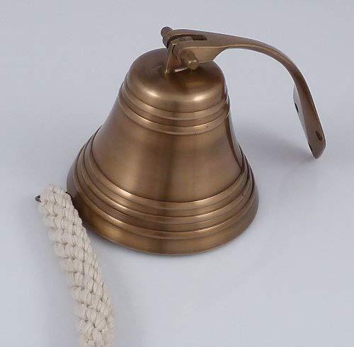 Schiffsglocke Messing antik, Ø 12.5 cm, mit Wandhalterung, Glockenstock und geflochtenem Glockenbändsel, satter schöner Klang