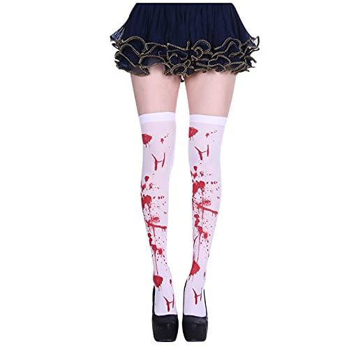 YWLINK Calcetines De Mujer Calcetines De Halloween Accesorios De Disfraces De Fiesta Medias con Estampado Cosplay por Encima De La Rodilla Calcetines Suaves Y Transpirables (D, M)
