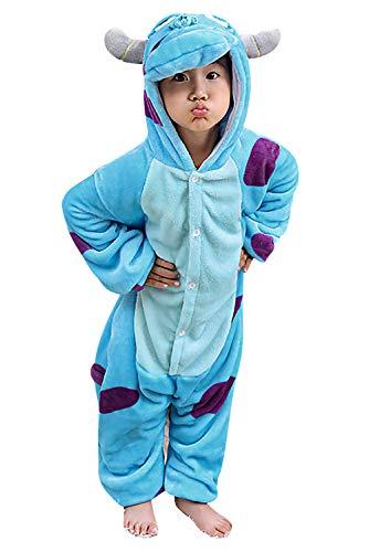 Dolamen Bambini Unisex Kigurumi Pigiama Onesie, Ragazza Ragazzo Anime Cosplay Halloween Natale Party Costume Attrezzatura Sleepwear (110-120CM (435'-47'), Sullivan)