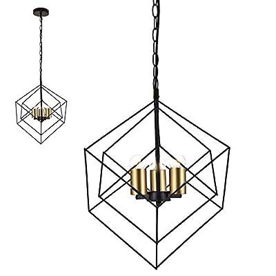 CASILVON Pendant Light for Kitchen Island, Gold Pendant Light Fixtures, Hanging Farmhouse Industrial Outdoor Large Vintage 3 Light Ceiling Lighting Fixture for Foyer Bar Kitchen Dinning Room (Black)