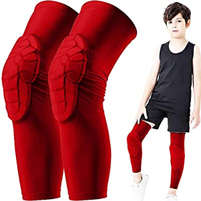 BOHOPE Kids Youth 5-15 Years Knee Pad Sleeve Sports Compression Leg Padded Guards Protective Gear for Basketball Baseball Football Volleyball Wrestling Cycling 1 Pair