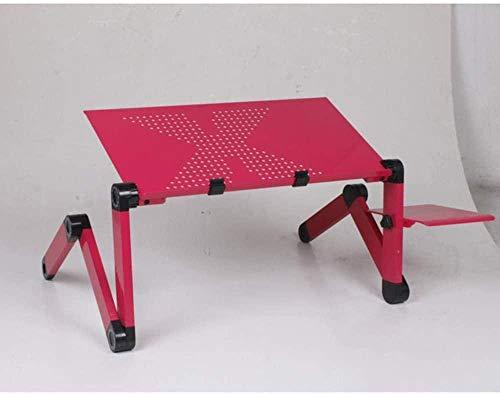 YSSJT Escritorios para computadora Soporte ventilado Plegable Ajustable Ordenador portátil Lap PC Mesa de Escritorio Plegable Bandeja de Cama portátil Rojo-Rojo