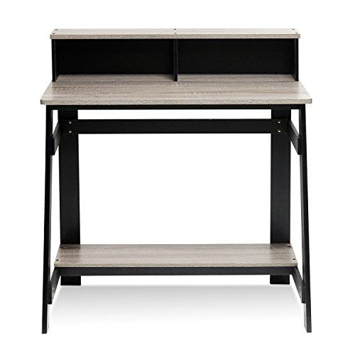 Furinno Simplistic Bureau d'ordinateur à Cadre simpliste, Noir/Gris chêne, 31,5 x 35,5-inches
