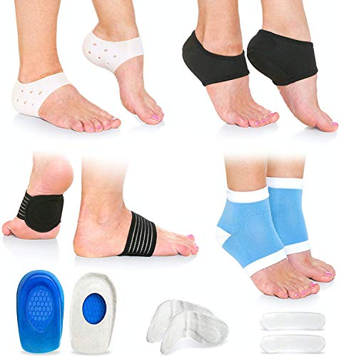 Plantar Fasciitis Foot Pain Relief 14-Piece Kit, with Compression Socks, Sleeve Ankle Brace, Arch Supports, Gel Heel Spur & Therapy Wraps, for Relief Plantar Fasciitis Pain, Heel Pain…