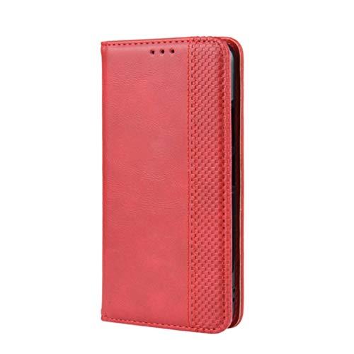 GOGME Leder Hülle für ZTE Axon 20 5G / 4G Hülle, Premium PU/TPU Leder Folio Hülle Schutzhülle Handyhülle, Flip Hülle Klapphülle Lederhülle mit Standfunktion und Kartensteckplätzen, Rot