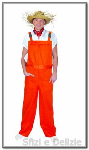 Generique - Neon-Latzhose Kostüm für Erwachsene orange - L