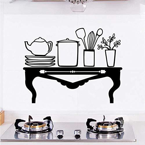 Creatieve Tafel Teapot Plate Gereedschap Zwarte Muurstickers Keuken Home Decor Accessoires Vinyl Muurstickers DIY Mural Art Poster