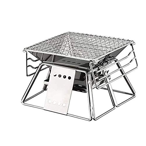 qazxsw Grill Fire Pit, Portable Foldable Stainless Steel BBQ Rack Non-Stick Surface Folding Barbecue Grill Outdoor Camping Picnic Tool