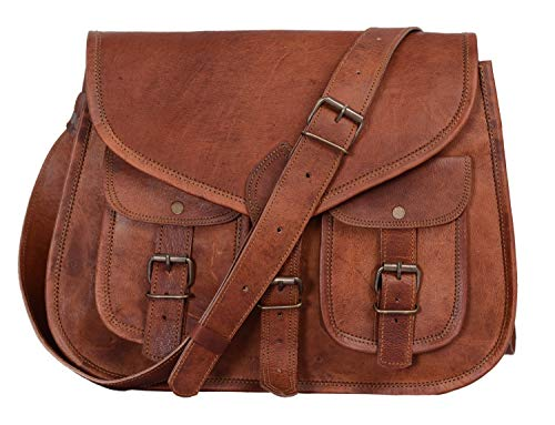 KPL 14 Inch Leather Purse Women Shoulder Bag Crossbody Satchel Ladies Tote Travel Purse Genuine Leather (Tan Brown)