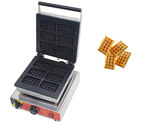 ZX zhixiu® Gofrera Eléctrica Profesional Máquina de Gofres Rectangular Comercial Waffle Maker de Hierro Máquina para Hacer Gofres Belga Máquina para Hacer Gofres de 6 Rebanadas (110V/60Hz)