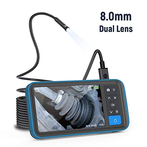 Endoscoop Kecheer Industriële endoscoopcamera met 4,5 inch – IP67 waterdicht 5,5 mm, instelbare videorecorder ondersteuning voor 8 talen endoscoop (5 m) 8mm Lens Diameter