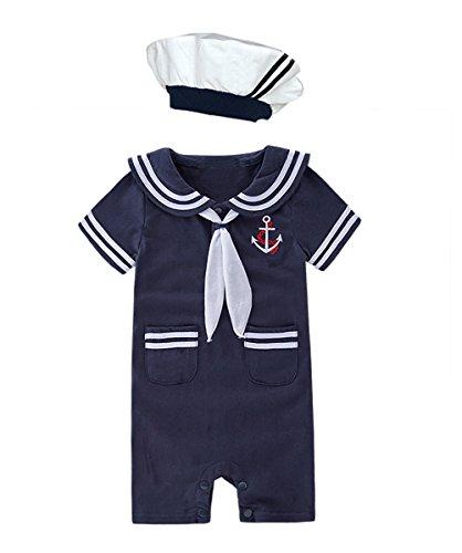 XM Nyan May's Baby Toddler Boys Sailor Stripe Romper Marine Navy...