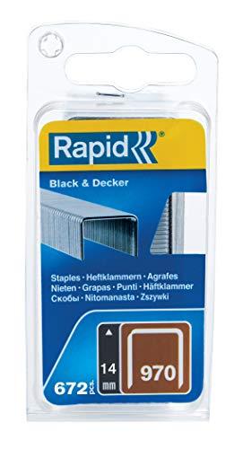 Rapid Tackerklammern Typ 970, 14mm Klammern, 672 Stk., mit Sägeanschnitt, Flachdrahtklammern für Black & Decker Hand- und Elektrotacker