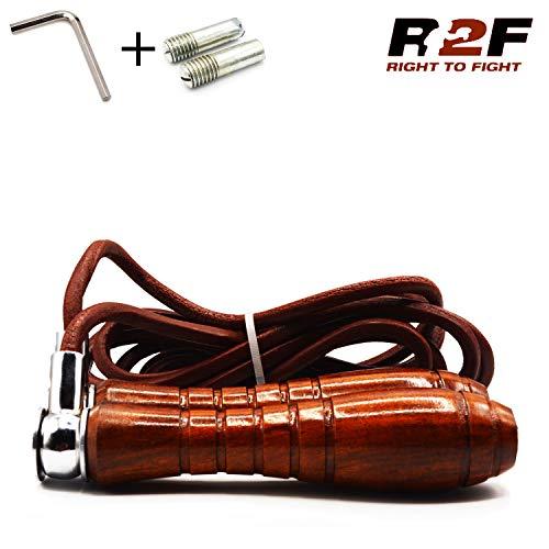R2F Corda per Saltare in Pelle - Veloce Perdita Peso Pugilato Cavo Allenamento Jump Rope - Fitnessequipment Leather Corda Fitness Non Weighted Maniglias