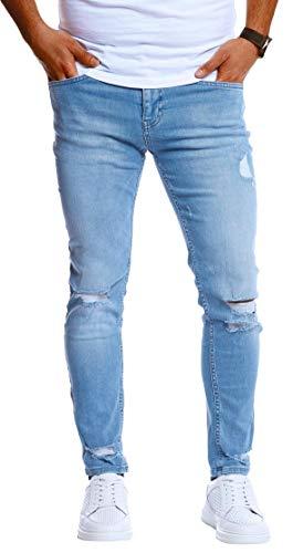 Leif Nelson Herren Jeans Hose Slim Fit Denim Blaue Schwarze Destroyed Jeanshose für Männer Coole Jungen weiße Stretch Freizeithose Sommer Winter zerrissen Slim Fit LN5419 Hell Blau W33/L32