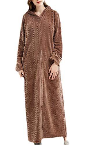 H&E Damen Nachthemd Bademantel mit Reißverschluss Housecoat Nightie Kapuzenpullover Flanell Nachthemd Gr. Large, Coffee