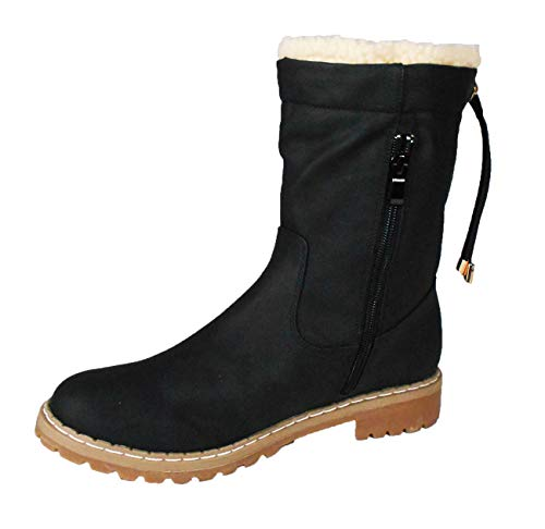 Walkx Comfort Damen Stiefeletten Boots warm gefütterte für den Winter (41, Schwarz)