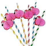 Pajas Decoración de Cóctel,3D Frutas Pajitas 50 Pack 19.7CM 3D Flamingo Papel de Fruta Paja Pajas de Beber Fiesta de Decoración para Cocktail Bebidas Tropicales Fiesta de Cumpleaños Celebración Bodas