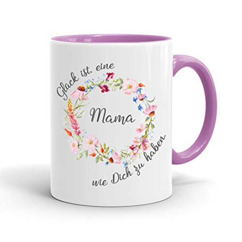 True Statements Mama Tasse Glück ist eine Mama wie dich zu haben - Kaffee-Tasse mit Spruch, Geschenk Mutter - Mama, inner rose