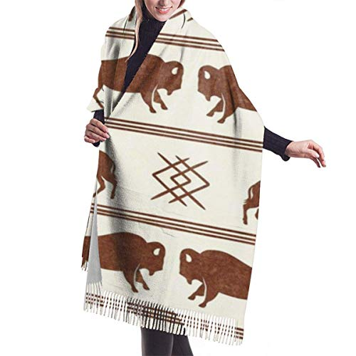 shenguang Chales abrigos Bison Stripes Aztec Southwest Boho Buffalo Brandywine On Cream Women's Oversiz Shawl or Warm Wrap Winter Scarves...