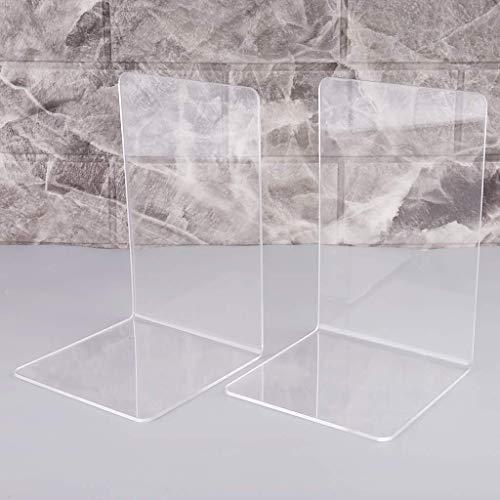 Kioneer Buchstützen aus Acryl, transparent, 1 Paar rutschfeste Buchstützen aus Kunststoff (Acryl)