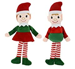 "Nice Plush Set Of Dolls Perfect Gift For Christmas High Quality Build to ensure they can last for holidays to come Soft Plush Body Large 14.5"" Inch Tall Elves"