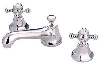 Kingston Brass KS4461BX Metropolitan Widespread Lavatory Faucet with Metal Cross Handle, Polished Chrome