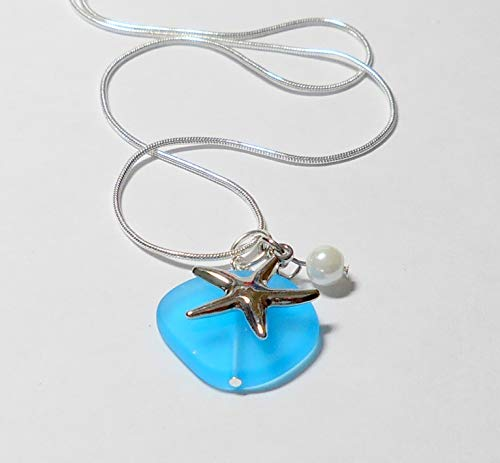 Aqua blue sea glass silver necklace, tropical jewelry with sterling silver plate chain, silver starfish and pearl by BethExpressions