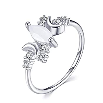 BELUCKIN Crystal Wicca Pagan Triple Moon Goddess Wedding Bands Engagement Ring for Women Girls  silver 8