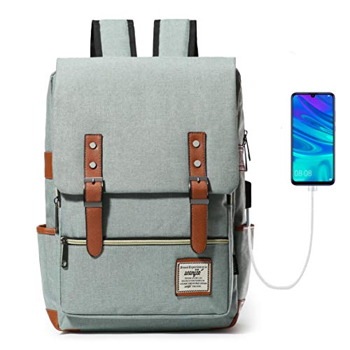 HapiLeap Laptop Vintage Backpack Water Resistant Business Travel School Rucksack Messenger Bag Fits 15.6 Inch Notebook for Men & Women (Green)