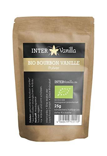 InterVanilla BIO Bourbon Vanillepulver 25g gemahlene Vanille. Vanillepulver BIO aus echter Bourbon Vanille. Vanilla Powder aus Madagaskar. Gemahlene Vanille ohne Zusätze